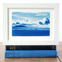 Newborough Beach Anglesey Welsh Seascape Original Cyanotype Blue & White
