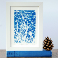 Bird in Winter branches with fairy lights, Original Cyanotype