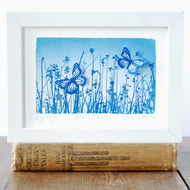Butterfly Meadow Flutter, Original Cyanotype
