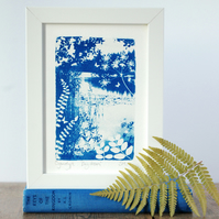 'Day dream' Original Cyanotype with Vetch, Ferns & Butterflies Blue & White