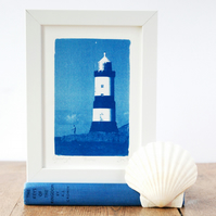 Penmon Lighthouse Anglesey Welsh Seascape Original Cyanotype Blue & White