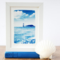 Lighthouse & Puffin Island Anglesey Welsh Seascape Cyanotype Blue & White