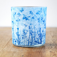 Blue butterfly meadow cyanotype mulberry paper candle holder