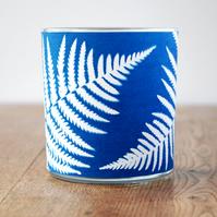 Fern Cyanotype candle holder
