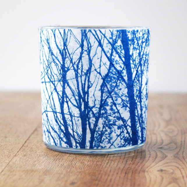 Delicate Leafy Tree Branches Cyanotype candle holder blue & white