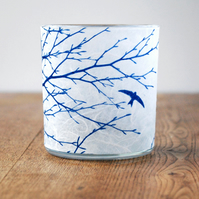 Delicate Swifts Cyanotype candle holder White & Blue