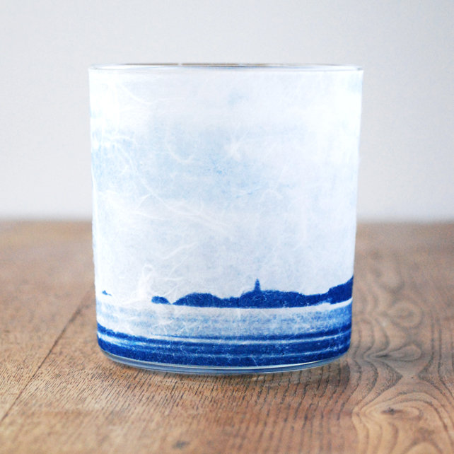 Delicate Llanddwyn Silhouette candle holder blue & white Welsh Seascape Anglesey