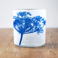 Delicate Cow parsley Cyanotype candle holder blue & white