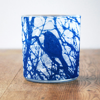 Delicate Blue Bird Cyanotype candle holder