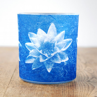 Blue Water lily cyanotype candle holder
