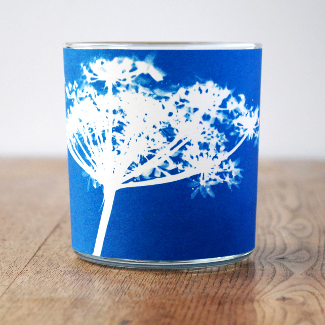 Cow parsley Cyanotype candle holder