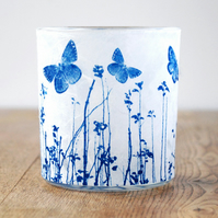 Butterfly meadow Cyanotype delicate paper candle holder white & blue