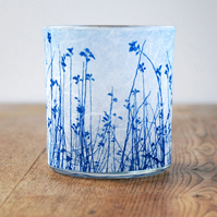 Delicate Meadow Cyanotype candle holder