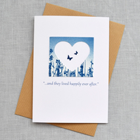 "Wedding Card ""...and they lived happily ever after."" Butterfly Meadow Cyanotype"