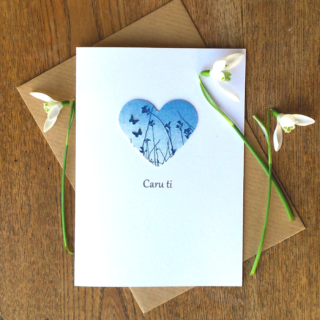 Caru ti ('Love you' in Welsh) Card