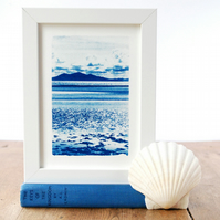 Original Cyanotype Newborough Beach View Anglesey Welsh Seascape Blue & White