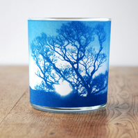 Tree Silhouette Cyanotype Tealight Holder