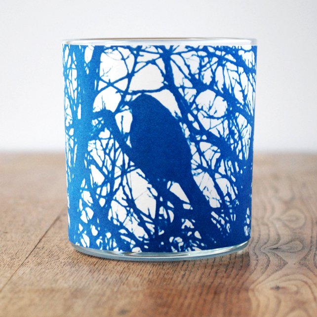 Little Blue Bird Cyanotype Tealight Holder