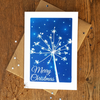 Pack of 4 Christmas cards from Cyanotype images