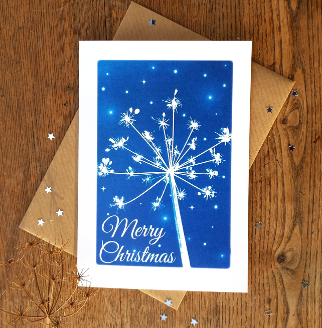 Merry Christmas Cow Parsley Blue Cyanotype Card