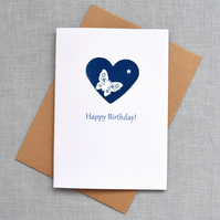 'Happy Birthday' Butterfly & Star Blue Heart Cyanotype Card