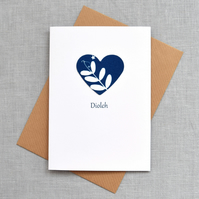 'Diolch' ('Thank you' in Welsh) Blue Heart with Vetch Cyanotype Card