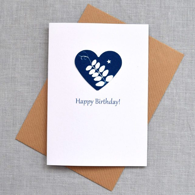 Happy Birthday Card British Hedgerow Vetch Blue Cyanotype Heart