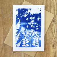 'Folkloric fairytale' design, Blue Cyanotype Art Card