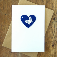 Butterfly Cyanotype Blue Heart Blank Greetings Card