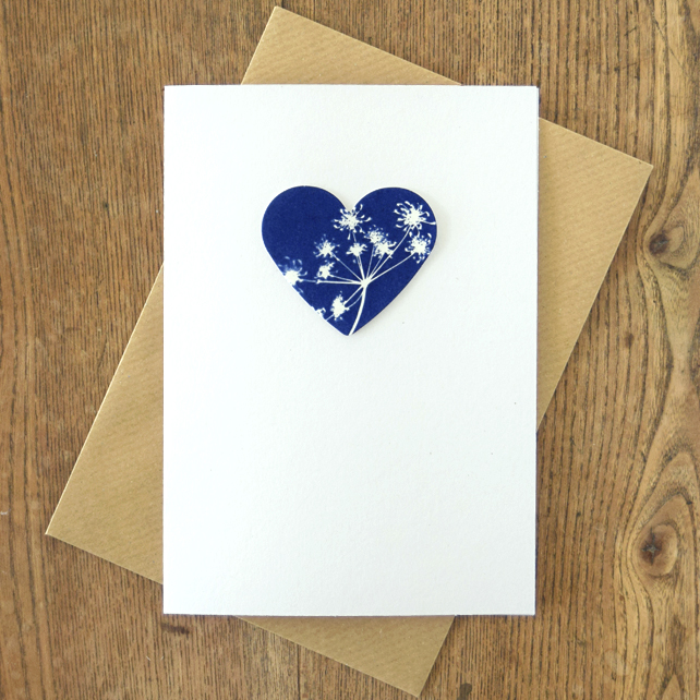 Cow Parsley Cyanotype Heart Valentines Card
