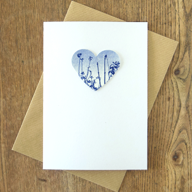 Meadow Heart Cyanotype Card