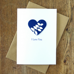 'I Love You' Card with Indigo Blue Cyanotype Vetch Heart