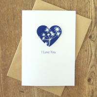 'I Love You' Card with Cow Parsley Cyanotype Heart
