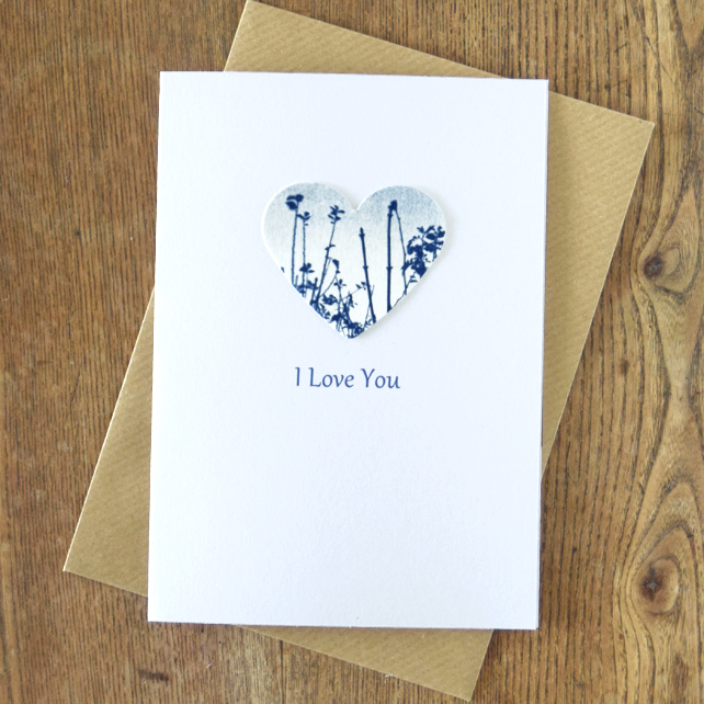 'I Love You' Card with Meadow Cyanotype Heart