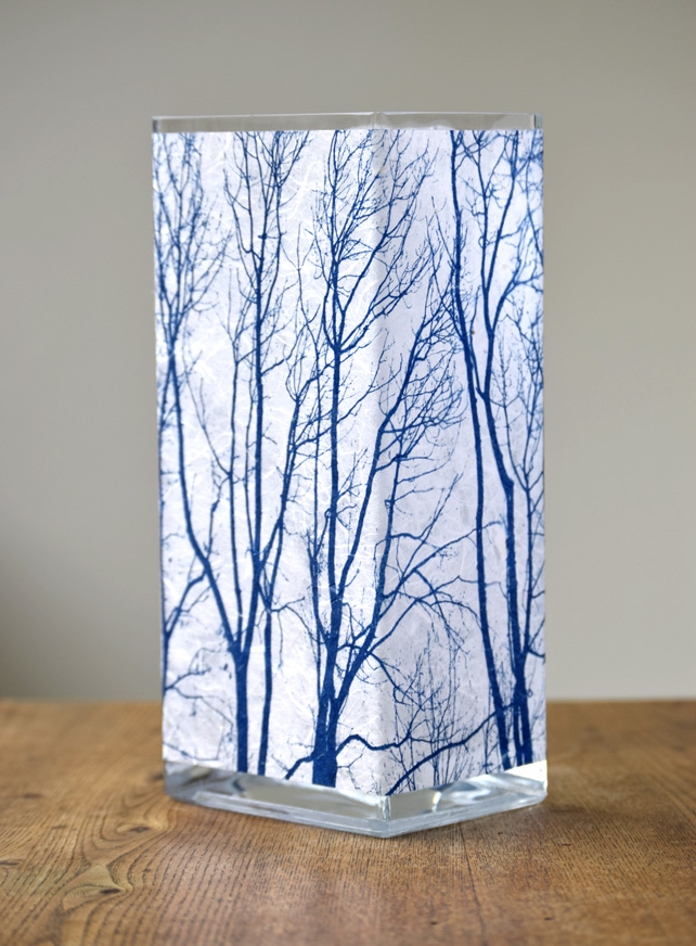 Large Branch Cyanotype Vase Blue and White