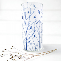 Flock of Birds through Tree Branches Cyanotype Blue & White Large Cylinder Vase
