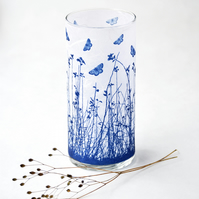 Blue Butterfly Meadow Large Blue and White Cylinder Vase