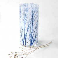 Large Blue and White Cylinder Vase Tree Branch Cyanotype