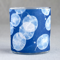Honesty seed heads & stars cyanotype candle holder