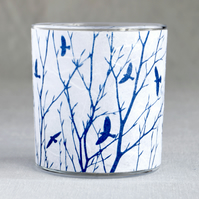A flock of birds & delicate branches cyanotype candle holder white & blue