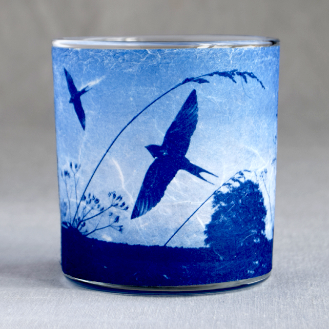 Swallows Return Cyanotype Translucent Blue Tea light holder