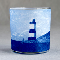 Lighthouse Cyanotype Tealight Holder Blue and White Welsh