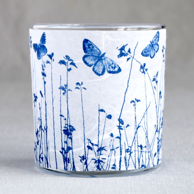 Butterfly meadow Cyanotype candle holder white & blue