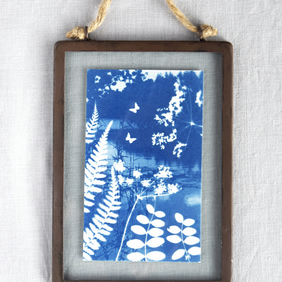 Folkloric Fairytale Cyanotype in industrial style metal and glass frame