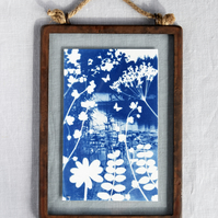 Reverie Cyanotype in industrial style metal and glass frame