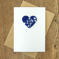 Cow Parsley Heart Cyanotype Card