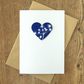 Valentines Card Cow Parsley Cyanotype Heart