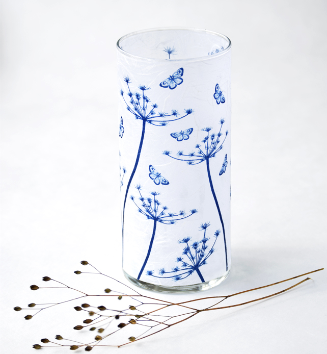 Cow Parsley Seed Heads with Butterfly Cyanotype Blue & White Large Cylinder Vase
