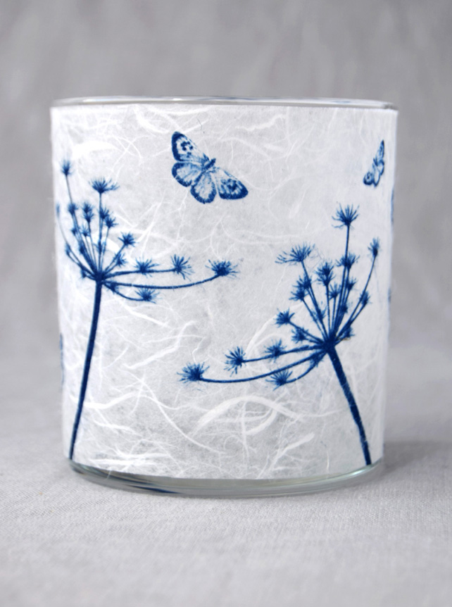 Cow Parsley and butterflies blue and white Cyanotype candle holder