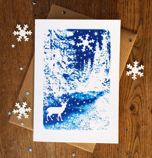 SALE - Winter Wonderland Christmas card from Cyanotype image